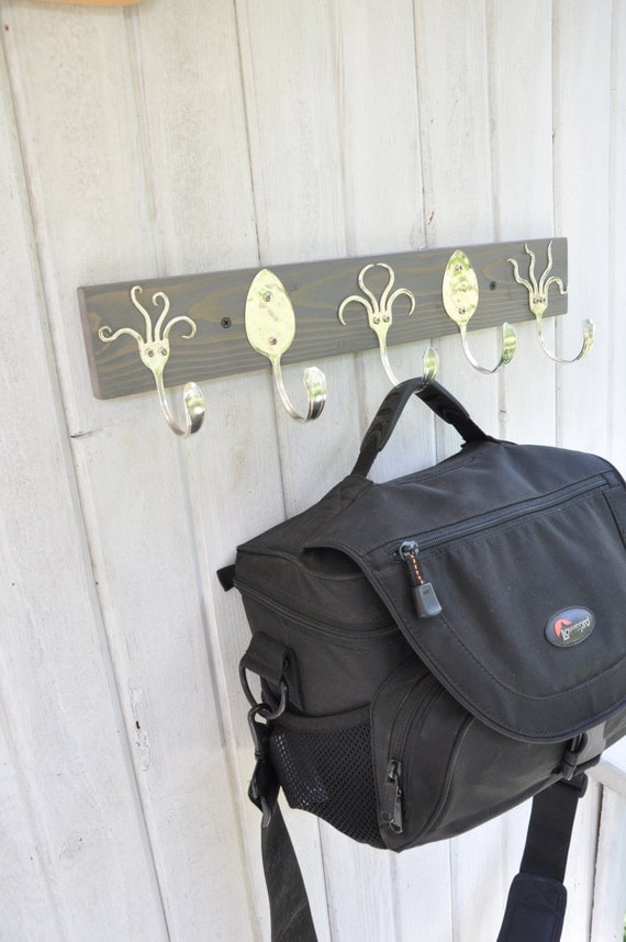 awesome coat rack with funky fork hooks stained gray by jjevensen
