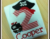 Boys Personalized Pirate Ship Applique Birthday Shirt