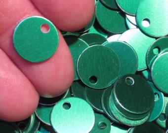 "30 Or More 1/2"" Green Stamping Blanks Anodized Aluminum Discs Tags Circles Disks Bright Christmas Crayon Green Lightweight Small 12.85mm"