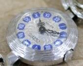 Vintage Ladies 17 Jewel Mechanical Watch - Wind Up Ladies Watch - Silver Tone Case and Bracelet - Royal Blue Numbers