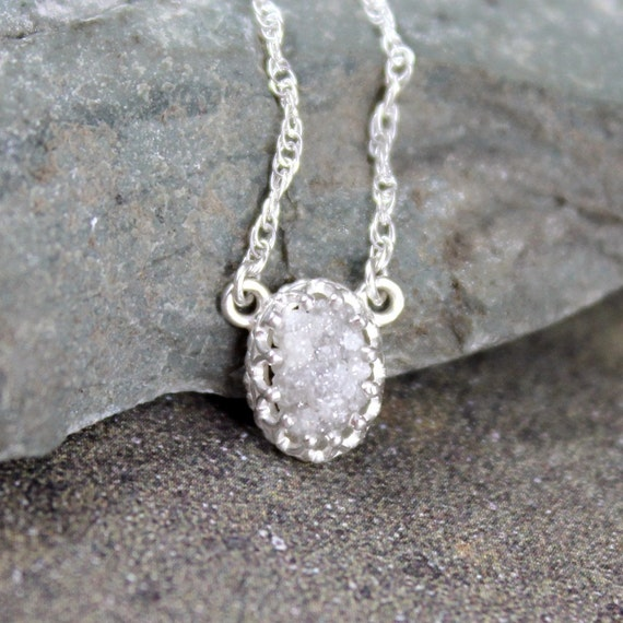 Natural Rough Diamond and Sterling Silver Necklace - Antique Look - Rustic Oval Shape - Diamond in the Rough Pendant - April Birthstone