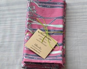 Lunch Napkins- Set of 4- Pink Forest- Cotton