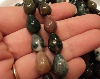 Teardrop Indian Agate Beads - Sold per strand - #BST1162