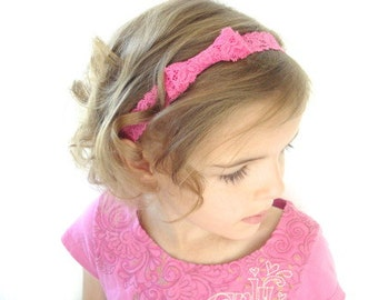 Lace Bow Headbands, Set of 4 - Hot Pink, Pink, White, Purple