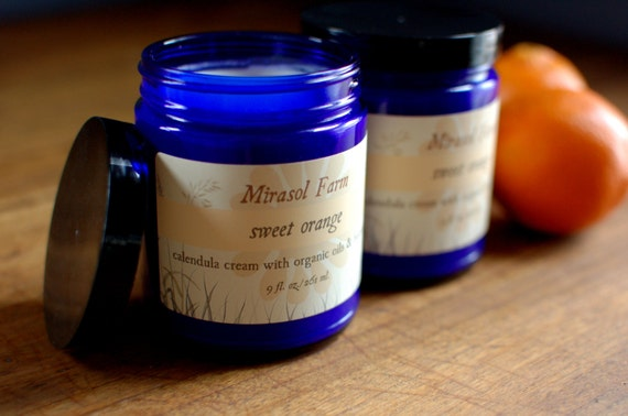 Sweet Orange - large jar of calendula cream with organic oils (8.5 ounces)