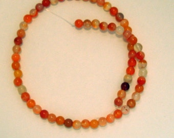 Full Strand of  6 mm Orange Agate Gemstones  (335)