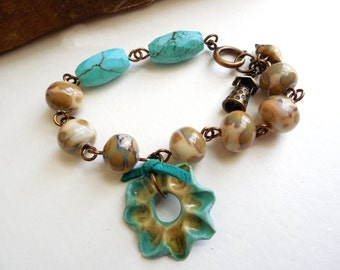 Ceramic and Turquoise Charm Bracelet, Bird Charms, Wire Wrapped, Spring Bracelet, Antiqued Brass, Rustic Jewelry