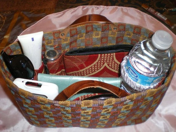 "Purse organizer insert/Shaper /Sturdy/Stain/water resistant in tan/brown red golden  10.5""L 4""W 6'H"