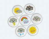 Buttons - Cute Weather Illustrations Set of 7 -  Sun - Clouds - Rainbow - Lightning - Rain - Snow