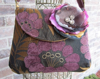 The Classic Purse in Charcoal with a Purple and Gold Floral Pattern