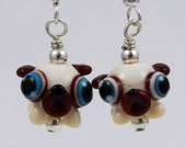 Adorable Pug Puppy Lampwork Glass Earrings