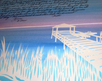 Live Oak Spanish Moss and Dock at Sunset - Papercut Ketubah - Wedding Artwork - calligraphy