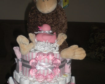 Monkey Safari Diaper Cake Jungle Boogie Girl  Baby shower gift or centerpiece other animals available