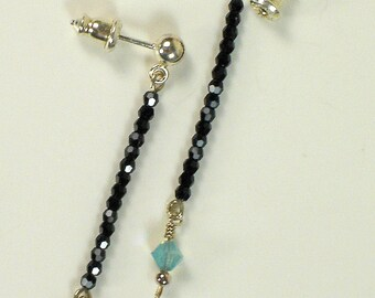 LBE (Little Black Earrings), handmade, sterling silver and Swarovski, jet and Pacific opal blue crystal beaded line earrings