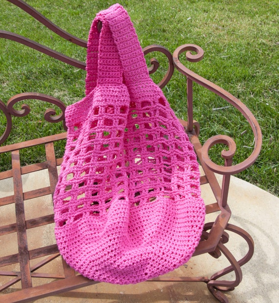 Hot Pink Crocheted Tote, Beach or Market Bag, in Cotton