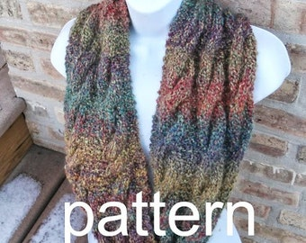 Knit Pattern - INSTANT DOWNLOAD - Infinity Cable Scarf by designbcb -PDF Pattern
