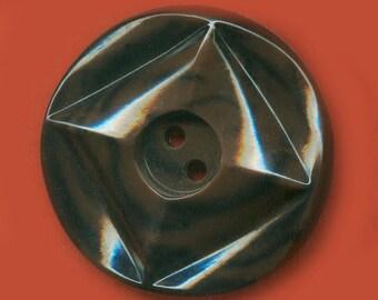 Vintage GorgeousBrown and Black Molded Fancy Art Deco Button 34.44mm  BR2 2