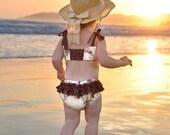 B E A C H Baby Vintage Rose.....Ruffle Bum Bathing Suit Sun Suit