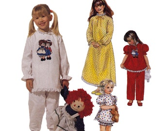 Raggedy Ann Girls Pajamas Sewing Pattern - Childrens Sleepwear Sewing Pattern - McCalls 7749 - Uncut, Factory Folds
