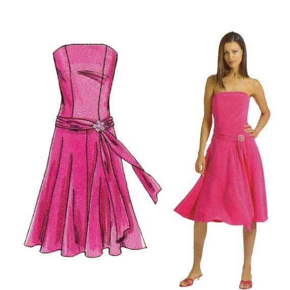 Boned Bodice Dress Pattern Misses Sewing Pattern Strapless
