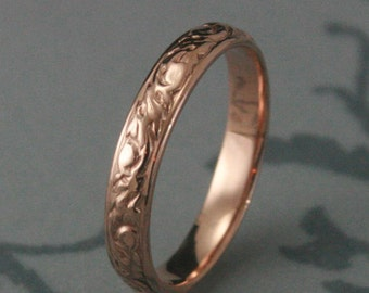 Rose Gold Wedding Ring--Going Baroque Band--14K Red Gold Ring--Swirl Design Band-Leaf Ring-Women's Wedding Band-Vine Band-Men's Wedding Ring