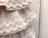 Ruffled Shoulder Canvas Bag, Rustic Ruffles,Crochet Lace, Industrial Cotton Canvas, Victorian, Prairie Style,