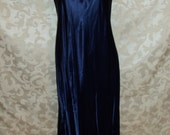 Vintage Art Deco Style Royal Blue Long Satin Gown Dress