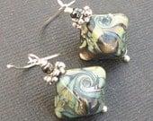 beaded earrings lampwork glass diamond shaped colorful green, sage, bronze ivory swirled beads-  verde diamonds