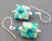 lampwork glass earrings  turquoise and ivory two tone silvered beads-  turquoise treasures