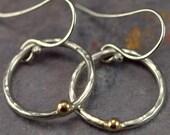 14k Gold and Sterling Hoop Earrings - Mixed Metal Hoop Earrings