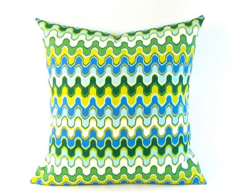 Green, Blue and Yellow Geometric Print Pillow Cover  18 inch or 20 inch INDOOR OUTDOOR - Best Seller