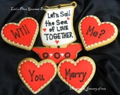 Sea of Love Valentine's Day Cookies - 5 Cookies