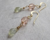 Peach Glass and Light Green Phrenite Earrings