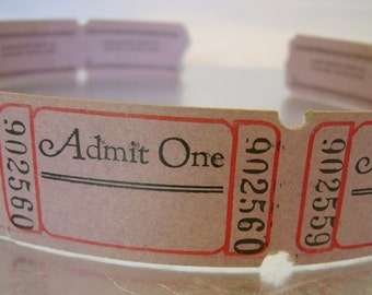 Vintage Admit One Dusty Pink Admission Tickets from Chicago for Scrapbooking, Collage, Journals, Paper Arts