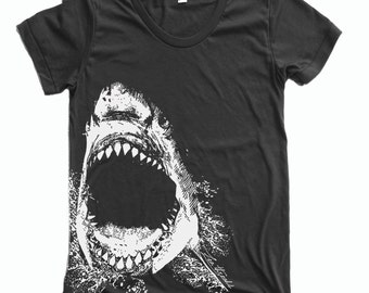 Womens SHARK tee T Shirt american apparel S M L XL (16 Colors Available)