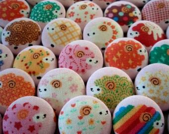 Buttons -  SIX Fun Sheep Fabric-covered Buttons - Colorful Lamb Fabric Buttons - Covered Buttons for Fiber Artists, Children, Etc.