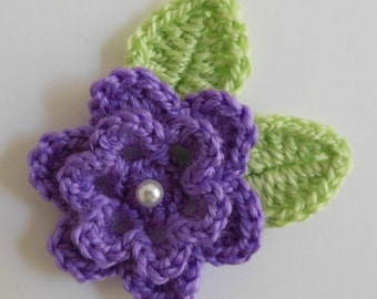 Crocheted Flower with Leaves - Purple and Green - Acrylic Yarn - Crocheted Flower and Leaf Appliques