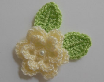 Crocheted Flower with Leaves - Cream and Green - Acrylic Flower - Crocheted Flower Applique - Crocheted Flower Embellishment