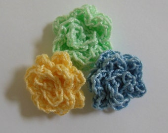 Crocheted Roses - Yellow, Mint Green and Blue - Cotton Appliques - Cotton Embellishments - Set of 3