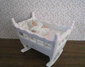 cradle, Pink and White, twelfth scale dollhouse miniature