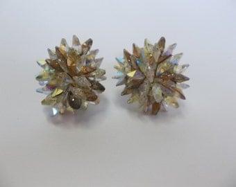 Vendome Adjustable Clip Earrings  Aurora Borealis Rivoli Swarovski Crystal