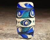 Peacock Blue Lampwork Glass Focal Bead by Scott Bouwens of Bearfoot Art