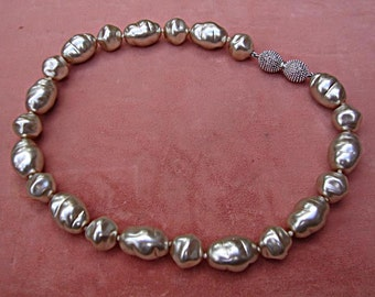 """Unsigned Haskell style Faux Baroque Pearl 16"""" Necklace: 1960's - unusual, ornate barrel clasp"""