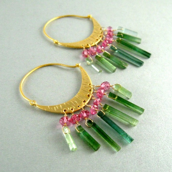 Green Tourmaline Hoop Earrings