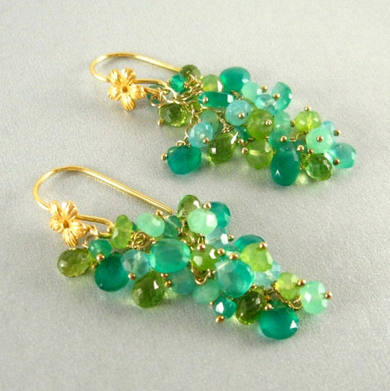 Chrysoprase, Green Onyx, Peridot, and Chalcedony Dangle Earrings