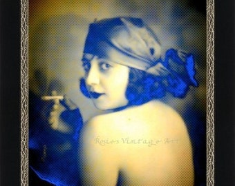 1920s Gypsy Woman Smoking a Cigarette in Yellows and Blues Giclee Art Print