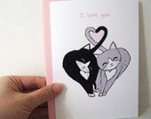 Valentine's Day Card - Headbutting Kitties Black and Grey - I Love You. White Envelope