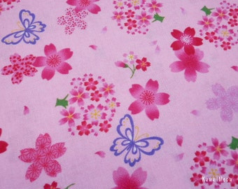 Beautiful Japanese Fabric - Girlie Sakura Butterfly on Pink - Half Yard(130228i)