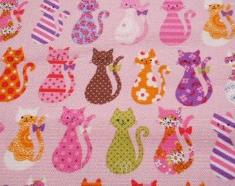 "SALE / Scrap - Kokka Colorful Cats Pink - 110cm/43""W x 54cm/21""L (12i0801)"
