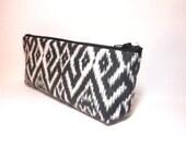 Medium Zipper Pouch Cosmetic Bag Pencil Case Ikat Black Print
